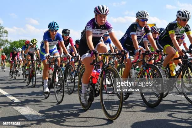 30 June 2018 Germany Einhausen Cycling German Road Championships 2018 women's 132 km road race on the route Rund um den Jaegersburger Wald Cyclists...