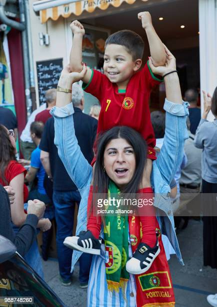 Soccer FIFA World Cup round of 16 Uruguay vs Portugal at the SochiStadium Portugal supporters Alessandra Belotti and Alessandro T Photo Georg...
