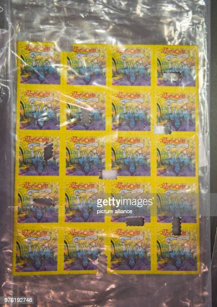 LSD trips a part of the seized drugs lying on a table The joint drugs investigation group of the Federal Police and German Customs at the...