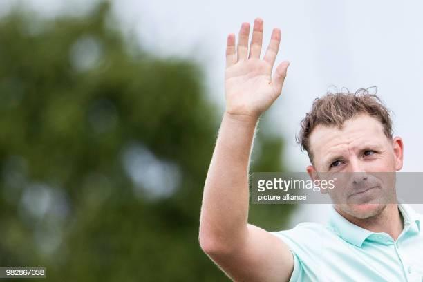 24 June 2018 Germany Pulheim Golf Europe Tour International Open Singles Men 4th Round English golfer Matt Wallace waving to spectators Photo Marcel...
