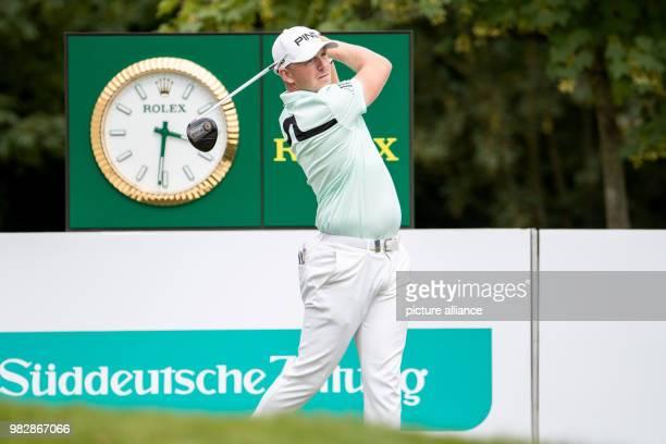 24 June 2018 Germany Pulheim Golf Europe Tour International Open Singles Men 4th Round English golfer Matt Wallace striking the ball Photo Marcel...