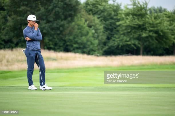 June 2018, Germany, Pulheim: Golf, European Tour - International Open. Danish golfer Thorbjørn Olesen standing on the green before hitting a shot....