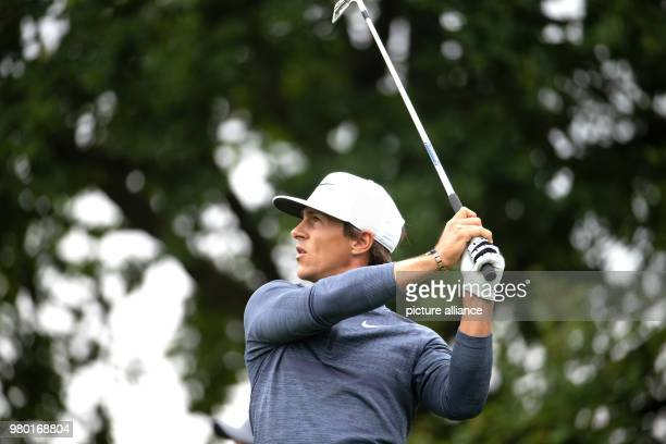 June 2018, Germany, Pulheim: Golf, European Tour - International Open. Danish golfer Thorbjørn Olesen hitting a shot. Photo: Marcel Kusch/dpa