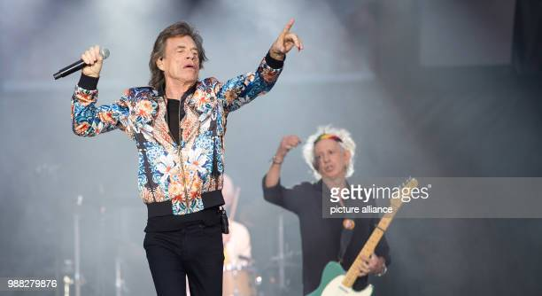 Singer Mick Jagger and guitarist Keith Richards on stage at a concert by the Rolling Stones during their European tour 'no filter' at the Mercedes...