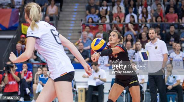 Volleyball women's Nations League match between Germany and China at the Porsche Arena Germany's Lenka Duerr bumps the ball Photo Sebastian...