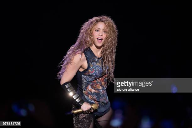 """June 2018, Hamburg, Germany: The Colombian Singer Shakira on stage during the kick-off concert of her """"El Dorado World Tour"""" at the Barclaycard..."""
