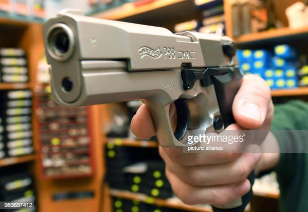 The weapon shop 'Waffen Rummer' shows a Walther P88 Compact 9mm PAK caliber pistol There are currently more than 587000 small gun licenses registered...