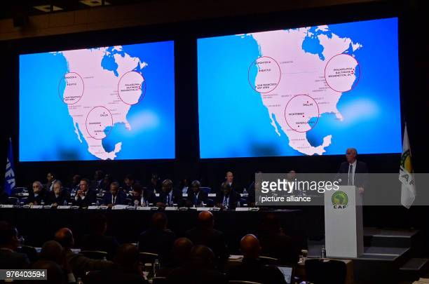 Canada's soccer association president Steve Reed presents the World Cup application during a meeting of the African associations The rights to the...