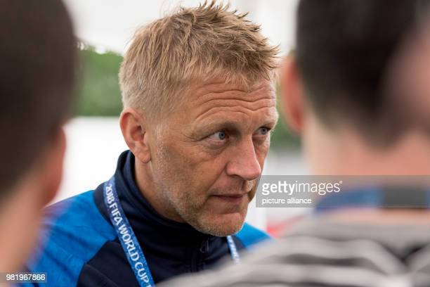 Soccer FIFA World Cup training Iceland Coach Heimir Hallgrimsson speaks with journalists On Tuesday Iceland faces Croatia in the last group stages...
