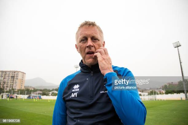 Soccer FIFA World Cup training Iceland Coach Heimir Hallgrimsson waits for the beginning of an interview On Tuesday Iceland faces Croatia in the last...