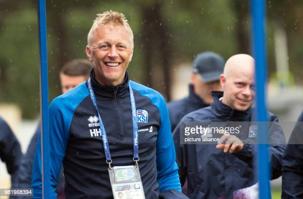 Soccer FIFA World Cup training Iceland Coach Heimir Hallgrimsson walks to the journalists On Tuesday Iceland faces Croatia in the last group stages...