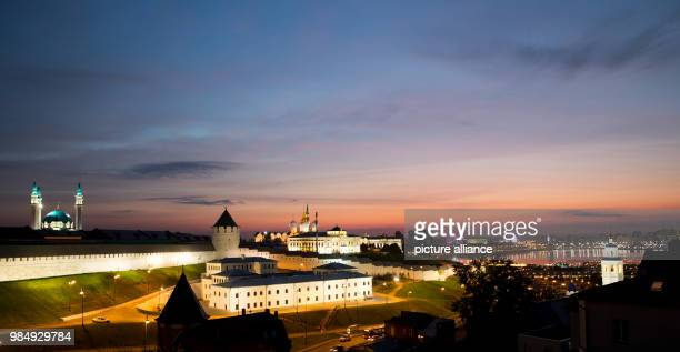 soccer World Cup national team Parts of the Kasan Kremlin with the Kol Sharif mosque glowing in the evening light With its architectural and...