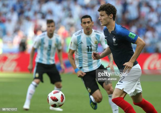 Football World Cup France vs Argentina at the Kazan Arena Angel di Maria of Argentina and Benjamin Pavard of France vie for the ball Photo Cezaro De...