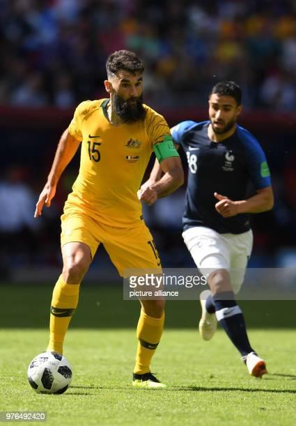 16 June 2018 Russia Kazan Soccer FIFAWorld Cup 2018 Matchday 1 of 3 France vs Australia in the Kazan Arena Nabil Fekir from France and Mile Jedinak...