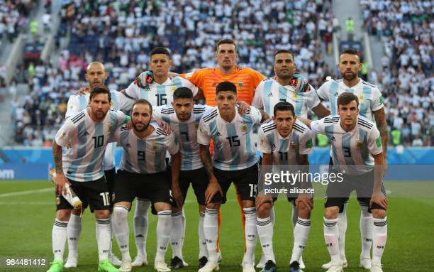 Soccer World Cup 2018 Preliminary round Group D 3rd game day Nigeria vs Argentina at the St Petersburg Stadium The Argentina team gathers together...