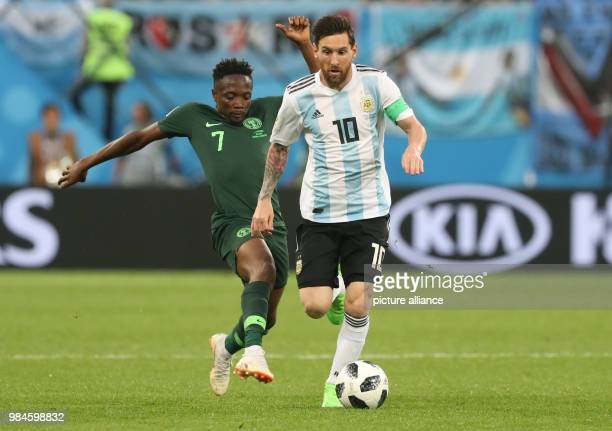 Soccer World Cup 2018 Preliminary round Group D 3rd game day Nigeria vs Argentina at the St Petersburg Stadium Argentina's Lionel Messi and Nigeria's...