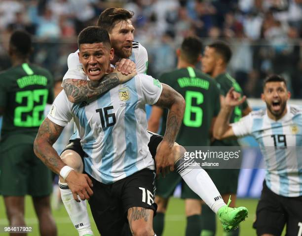 Soccer World Cup 2018 Preliminary round Group D 3rd game day Nigeria vs Argentina at the St Petersburg Stadium Argentina's goal scorer Marcos Rojo...