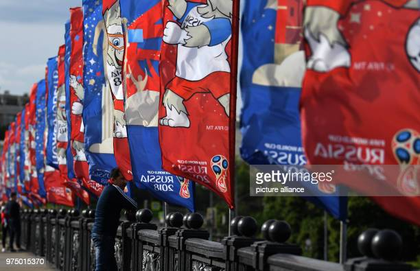 Soccer World Cup Flags with the logo of the Russia 2018 World Cup in downtown Moscow Photo Ina Fassbender/dpa