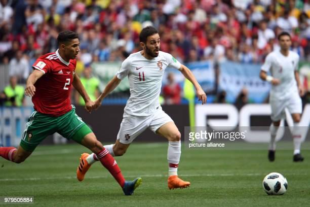 Soccer World Cup Portugal vs Morocco group B preliminary at the Luzhniki Stadium Morocco's Achraf Hakimi and Portugal's Bernardo Silva Photo Federico...