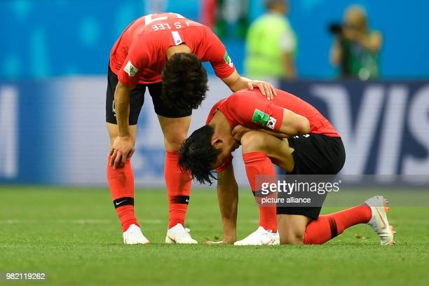Soccer FIFA World Cup 2018 South Korea vs Mexico group stages Group F 2nd matchday at the RostovonDon Stadium Jaeseong Lee and Yong Lee from South...