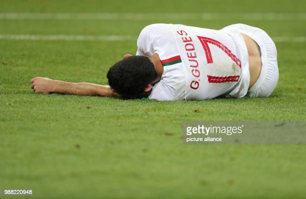 Fußball Football World Cup Uruguay vs Portugal at the Fisht Stadium Goncalo Guedes of Portugal lying on the pitch Photo Christian Charisius/dpa