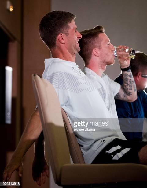 Soccer World Cup press conference Marco Reus and Thomas Mueller during a press conference at the team hotel Photo Christian Charisius/dpa