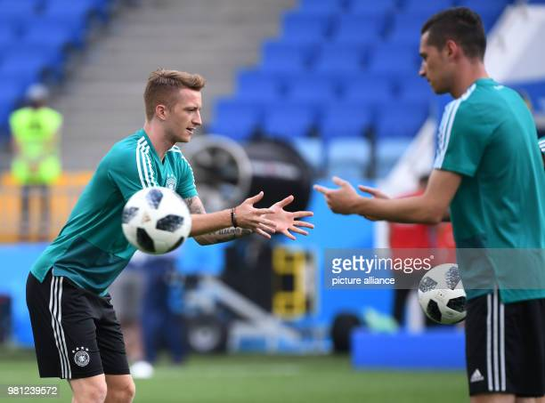 Soccer World Cup National Soccer Squad Germany Final Training Fisht Stadium Marco Reus and Julian Draxler Photo Ina Fassbender/dpa
