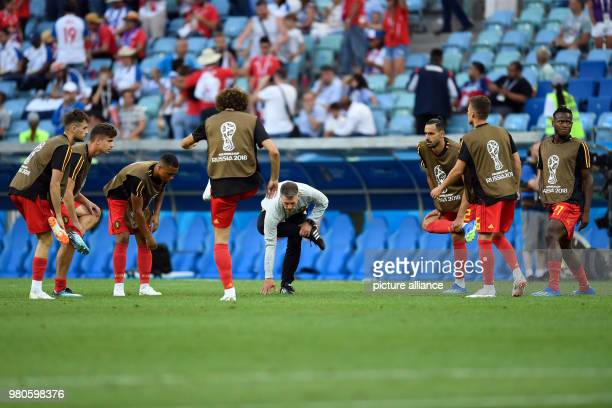 Soccer World Cup 2018 France vs Peru Preliminary round group C Second game day at the Yekaterinburg arena French players warming up before the game...