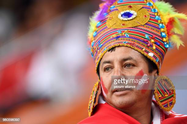 Soccer World Cup 2018 France vs Peru Preliminary round group C Second game day at the Yekaterinburg arena Peru fans cheering their team before the...