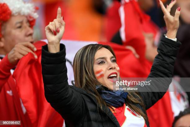 Soccer World Cup 2018 France vs Peru Preliminary round group C Second game day at the Yekaterinburg arena Peru Fans cheering for their team before...
