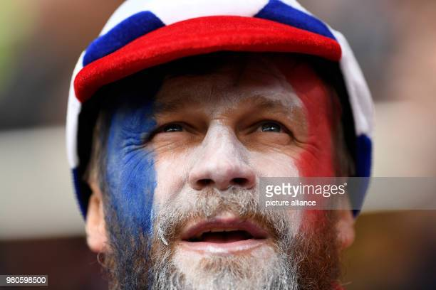 Soccer World Cup 2018 France vs Peru Preliminary round group C Second game day at the Yekaterinburg arena French fans cheering their team before the...