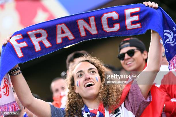 Soccer World Cup 2018 France vs Peru Preliminary round group C Second game day at the Yekaterinburg arena French fans cheering for their team before...