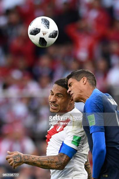 21 June 2018 Russia Yekaterinburg Soccer World Cup 2018 France vs Peru Preliminary round group C Second game day at the Yekaterinburg arena Peru's...