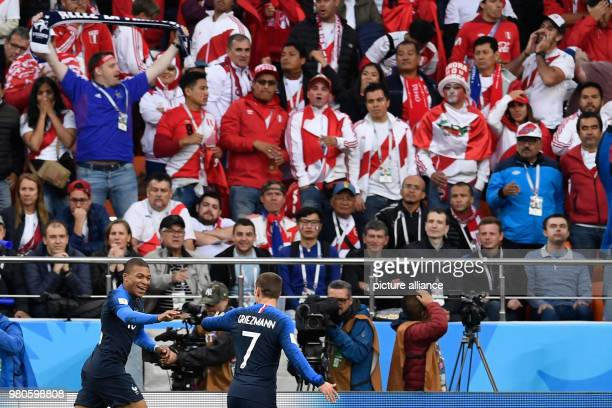 21 June 2018 Russia Yekaterinburg Soccer World Cup 2018 France vs Peru Preliminary round group C Second game day at the Yekaterinburg arena Scorer...