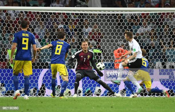 23 June 2018 Sochi Russia Soccer World Cup Germany vs Sweden Group Stage Group F 2nd matchday Sochi Stadium Marco Reus scores the 11 equalizer...