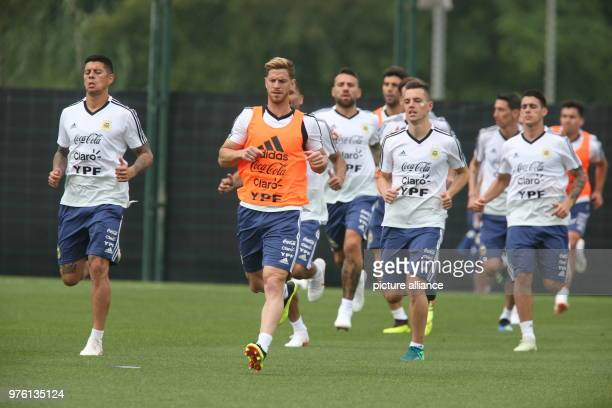 Soccer Argentinian team at a taining camp in preparation for the World Cup Marcos Rojo Cristian Ansaldi Lo Celso and Cristian Pavon Photo Cezaro De...