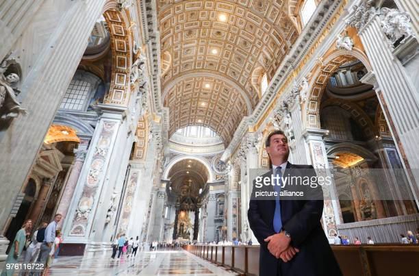 Markus Soeder of the Christian Social Union Premier of Bavaria standing during a visit of the vatican at St Peter's Basilica Soeder is invited in...
