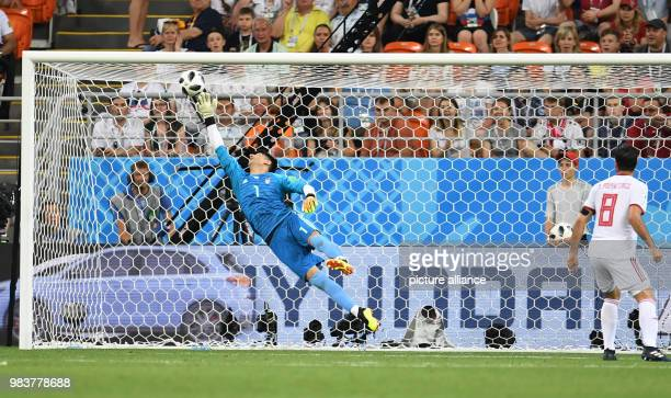 Soccer FIFA World Cup 2018 Iran vs Portugal group stages group B 3rd matchday Iran's goalkeeper Alireza Beiranvand cannot prevent the 01 goal by...