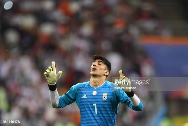 Soccer FIFA World Cup 2018 Iran vs Portugal group stages group B 3rd matchday Saransk Stadium Goalkeeper Alireza Beiranvand from Iran Photo Andreas...