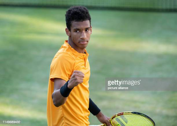 13 June 2019 BadenWuerttemberg Stuttgart Tennis ATPTour Stuttgart singles men round of 16 Simon AugerAliassime Felix AugerAliassime clenches his fist...