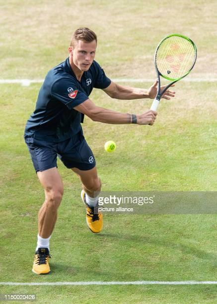 14 June 2019 BadenWuerttemberg Stuttgart Tennis ATPTour Stuttgart singles men quarter finals Fucsovics Raonic Marton Fucsovics in action Photo Silas...