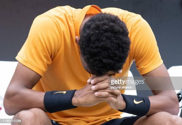 16 June 2019 BadenWuerttemberg Stuttgart Tennis ATPTour Stuttgart Individual Men Final AugerAliassime Berrettini Felix AugerAliassime reacts after...