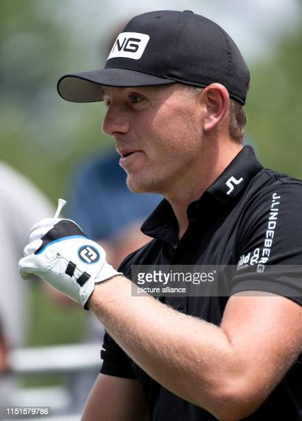 Golf European Tour International Open singles men 4th round The professional golfer Matt Wallace from England has a tee in his hand Photo Sven...