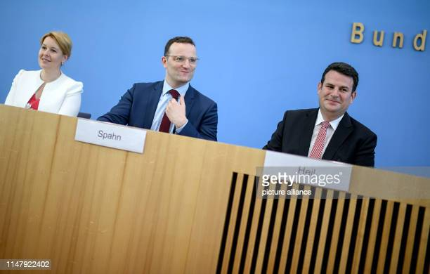 Franziska Giffey Federal Minister for Family Affairs Senior Citizens Women and Youth Jens Spahn Federal Minister of Health and Hubertus Heil Federal...
