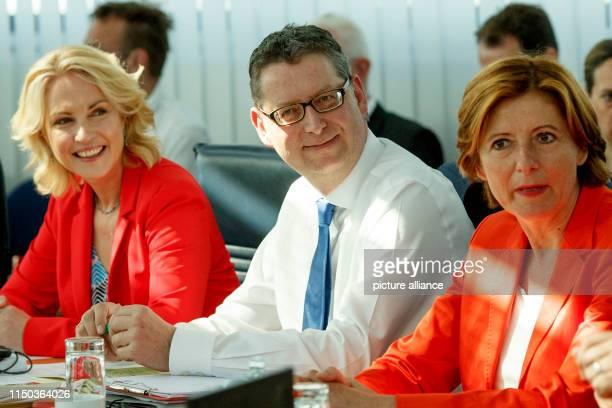 The three interim leaders of the SPD - Manuela Schwesig , Prime Minister of Mecklenburg-Western Pomerania, Thorsten Schäfer-Gümbel, Chairman of the...