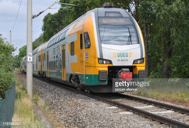 A train of the OstdeutscheEisenbahnGesellschaft runs on a singletrack line between Cottbus and Lübbenau in the direction of Cottbus Photo Patrick...
