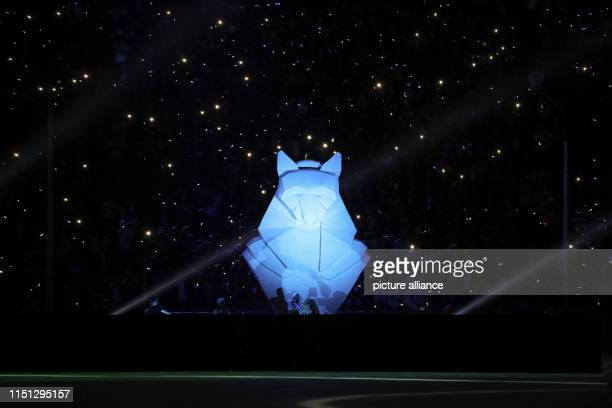 A general view of a figure of an ancient Egyptian god during the opening ceremony of the 2019 Africa Cup of Nations at the Cairo International...
