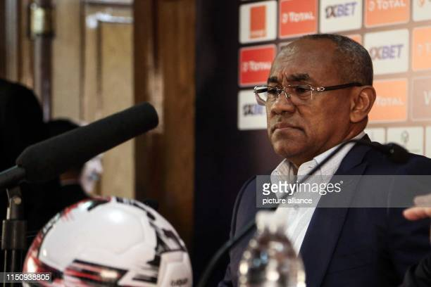 Ahmad Ahmad President of the Confederation of African Football holds a press conference at the Cairo International Stadium ahead of the opening of...