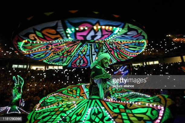 June 2019, Egypt, Cairo: An Egyptian traditional Tanoura dancer performs during the opening ceremony of the 2019 Africa Cup of Nations at the Cairo...