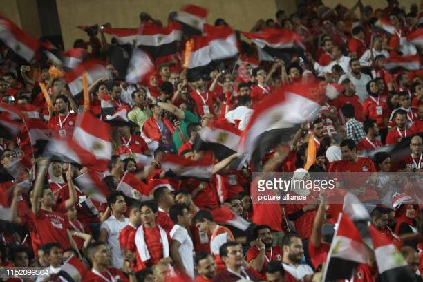 Egyptian fans cheer in the stands during the 2019 Africa Cup of Nations Group A soccer match between Egypt and the Democratic Republic of the Congo...